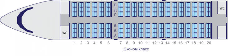 Схема салона самолета ЯК-42 авиакомпании Саратовские Авиалинии