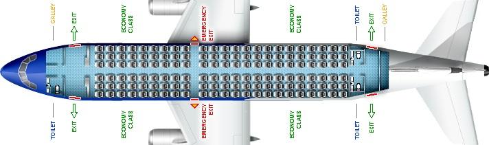 Схема салона самолета Аэробус А319 Эйр Молдова