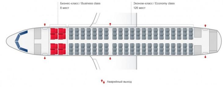 Схема салона самолета Аэробус А319 авиакомпании Уральские Авиалинии
