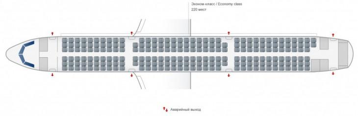 Схема салона самолета Аэробус А321 авиакомпании Уральские Авиалинии
