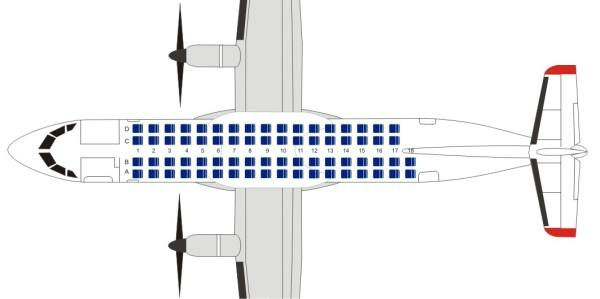 Схема салона самолета ATR 72-500 авиакомпании Ютэйр
