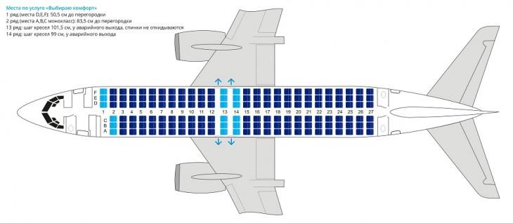 Схема салона самолета Боинг 737-400 авиакомпании Ютэйр