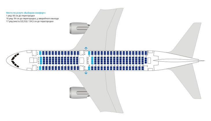 Схема салона самолета Боинг 767-200 авиакомпании Ютэйр