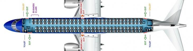 Схема салона самолета Embraer 190 Эйр Молдова