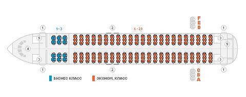 Схема салона самолета Аэробус А320 авиакомпании Владивосток Авиа