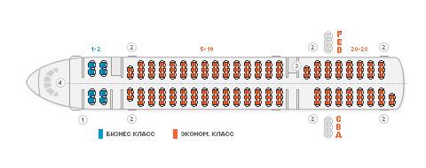 Схема салона самолета Ту 204-300 авиакомпании Владивосток Авиа