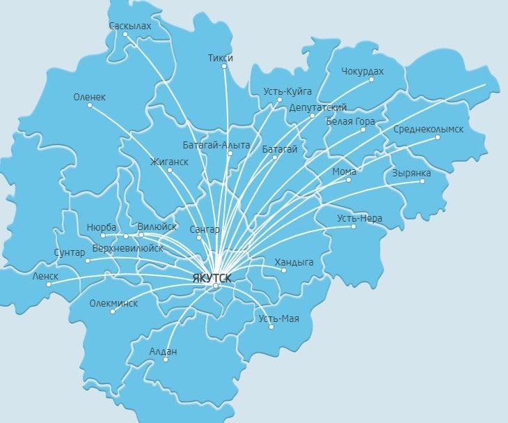 Направления полетов на карте