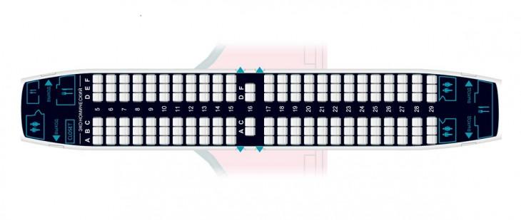 Схема салона самолета Боинг 737-300 авиакомпании Nordstar