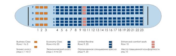 Схема салона самолета Airbus A319 от авиакомпании Донавиа