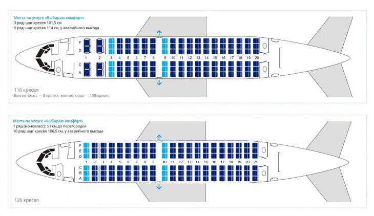 Схема салона самолета Боинг 737-500 авиакомпании Ютэйр