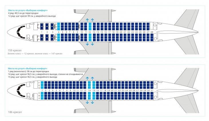 Схема салона самолета Боинг 737-800 авиакомпании Ютэйр