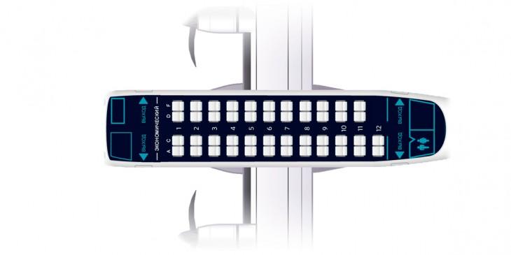 Схема салона самолета ATR 42-500 авиакомпании Nordstar