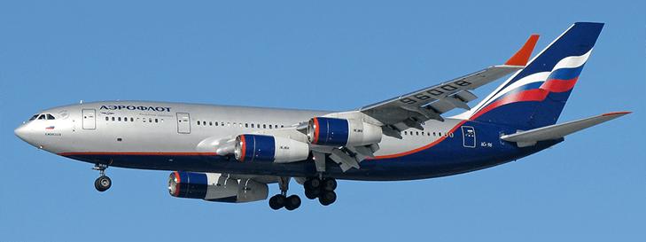 Самолет компании Аэрофлот в небе