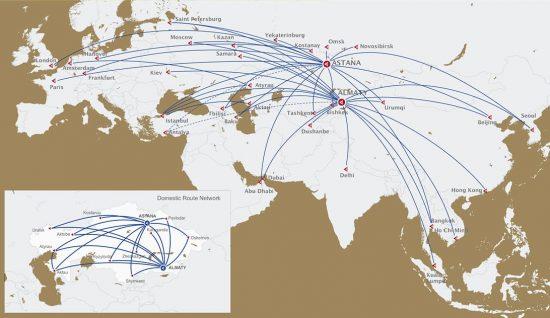 Карта направлений Air Astana