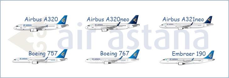 Основные самолеты авиакомпании Эйр Астана