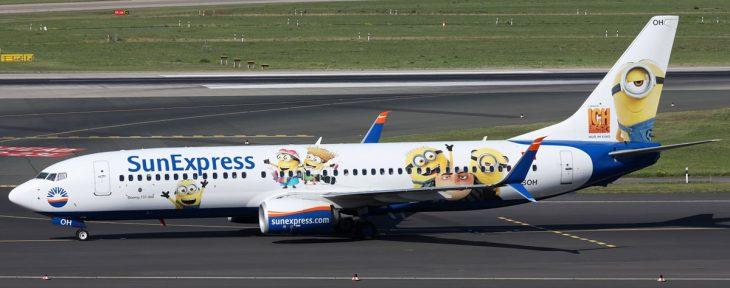 """Самолет Боинг 737-800 в ливрее мультфильма """"Гадкий Я"""""""