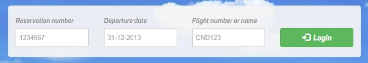 Форма регистрации на рейс Корендон