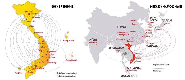 Карта маршрутов внутренних и международных направлений