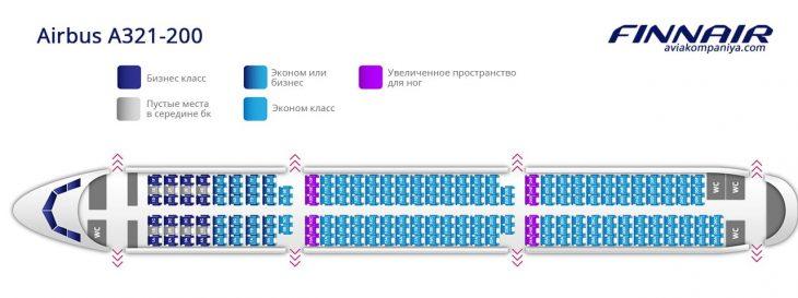 Карта мест в салоне Аэробуса А321