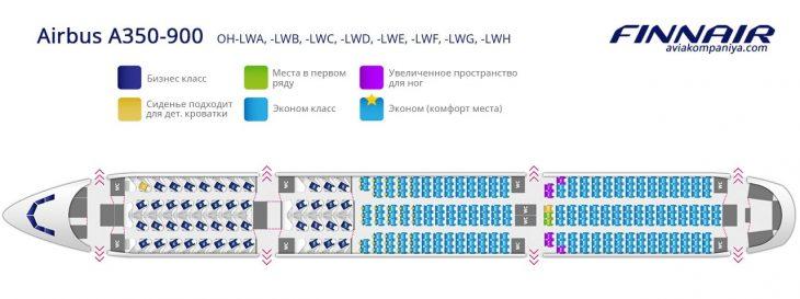 Карта мест в салоне самолета Аэробус А350 OH-LWA, -LWB, -LWC, -LWD, -LWE, -LWF, -LWG, -LWH