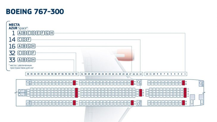 Карта мест в салоне Боинга 767-300 авиакомпании Азур Эйр